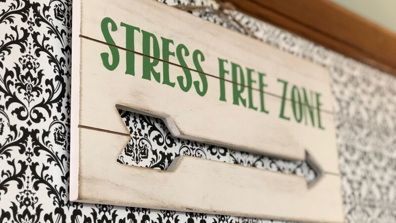 "Sign that says ""Stress Free Zone"""