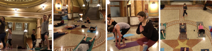 Yoga in Brown County court house
